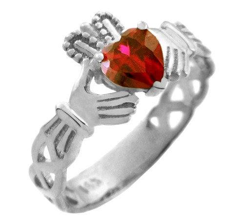 White Gold Claddagh Trinity Band with Ruby CZ Heart