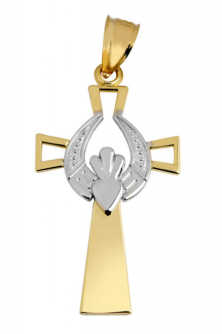 Modern Two-Tone Gold Claddagh Cross Pendant from CladdaghGold.com
