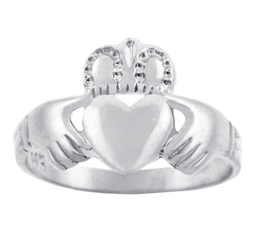 Solid White Gold Traditional Claddagh Ring