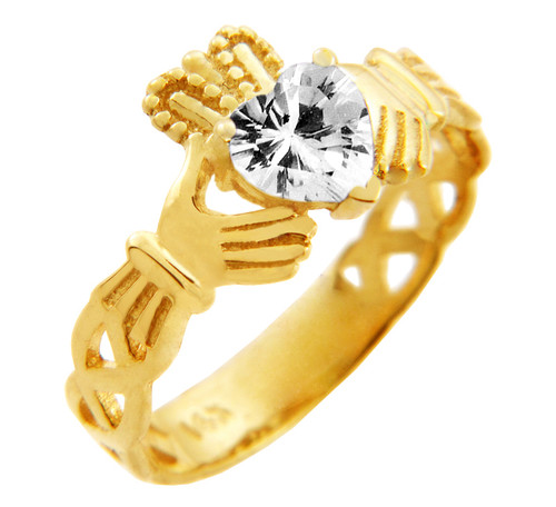 Gold Claddagh Trinity Band with White Clear CZ Heart
