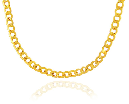 Gold Chains and Necklaces - Hollow Cuban 10K Gold Chain 8.04 mm