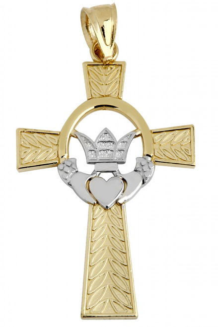 Two Tone Gold Claddagh Irish Cross Pendant from CladdaghGold.com - image