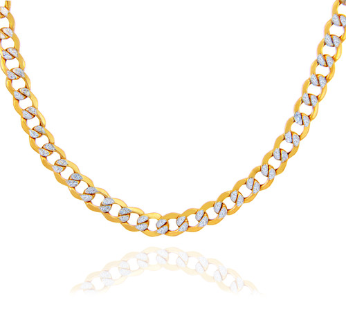 Gold Chains and Necklaces - Hollow Cuban Pave 10K Gold Chain 4.05 mm