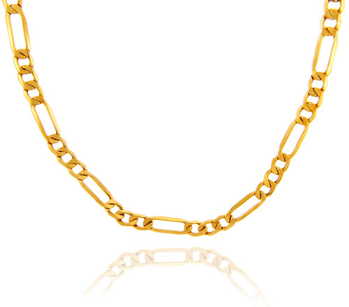 Gold Chains and Necklaces - Hollow Figaro 10K Gold Chain 4.92 mm