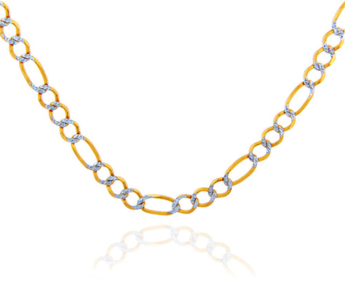 Gold Chains and Necklaces - Figaro Pave Two-Tone 10K Gold Chain 5.2 mm
