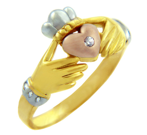 Three-Tone Gold Claddagh Ring with CZ Heart