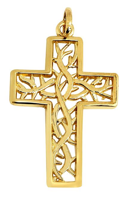 Large Gaelic Celtic Vine Gold Cross Pendant