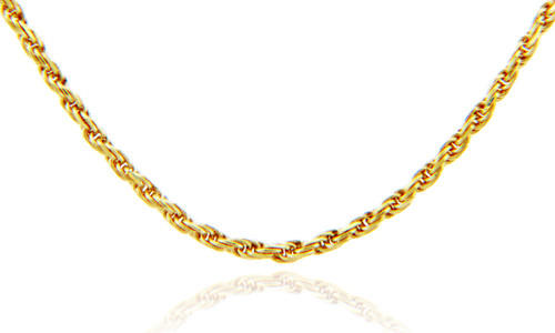 Gold Chains and Necklaces - Rope Solid Diamond Cut Gold Chain 0.29 mm