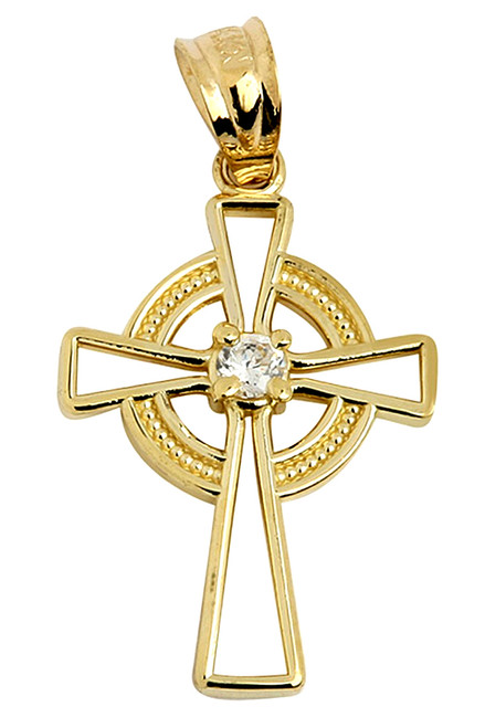 Gaelic Celtic Cross Gold Pendant with Center CZ