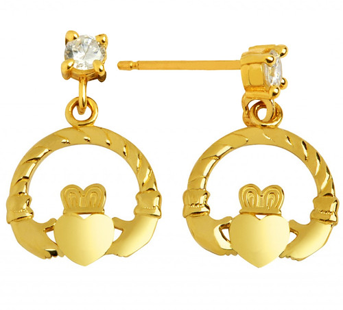 Yellow Gold Claddagh Earring With CZ