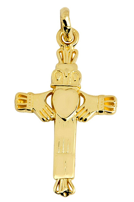 Gold Claddagh Cross Pendant in 10K and 14K Gold