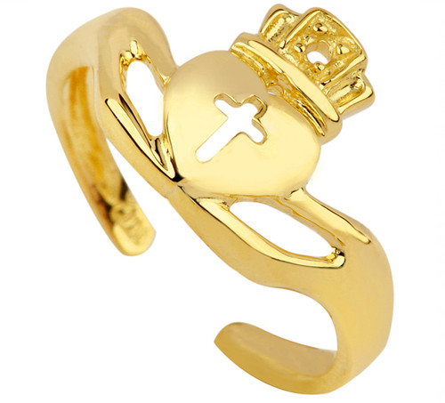 Gold Claddagh Toe Ring.  Available in 14k and 10k.
