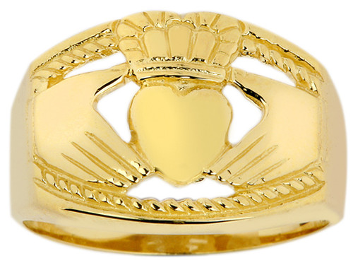 Bold Gold Mens Claddagh Ring