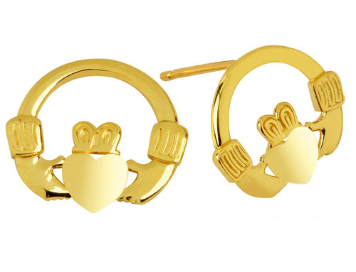 Gold Bold Claddagh Earrings