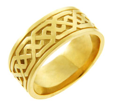 Men's Celtic Band - Yellow Gold Celtic Knot Ring