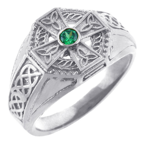 Men's Celtic Band - White Gold Celtic Ring with Emerald