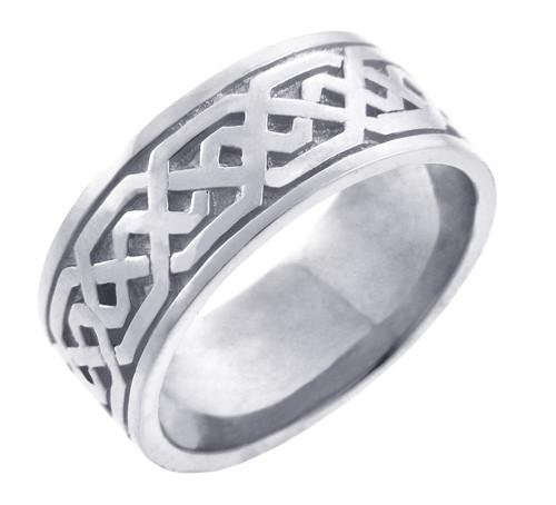 Men's Celtic Band - White Gold Celtic Knot Ring