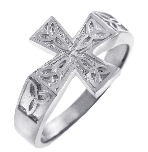 Celtic Band - White Gold Celtic Trinity Cross Ring