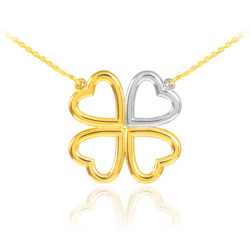 Shamrock Necklace in 14k White and Yellow Gold.