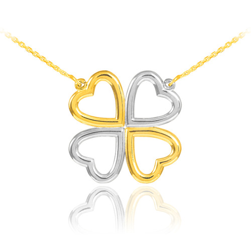 Shamrock necklace in 14k two-tone white and yellow gold.