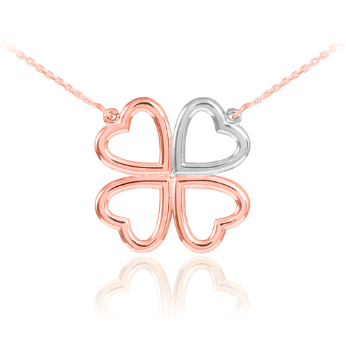 Shamrock necklace in 14k two-tone rose gold and white gold.