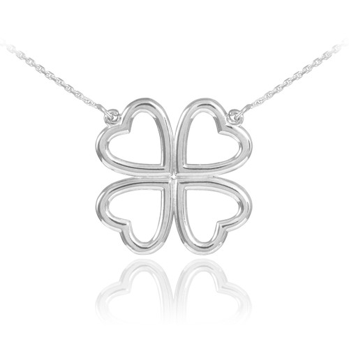 Shamrock necklace in 14k white gold.