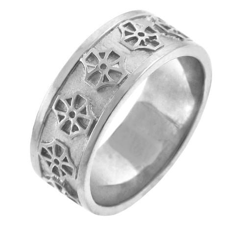 Celtic Band - White Gold Celtic Cross Ring
