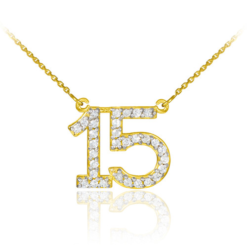 15 Anos Quinceanera Necklace with diamonds in yellow gold.