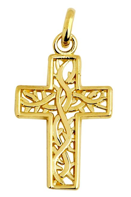 Celtic Gaelic Vine Gold Cross Pendant