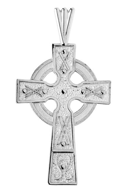 White Gold Celtic Cross Medallion Pendant
