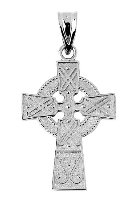 White Gold Celtic Cross Pendant 1 inch
