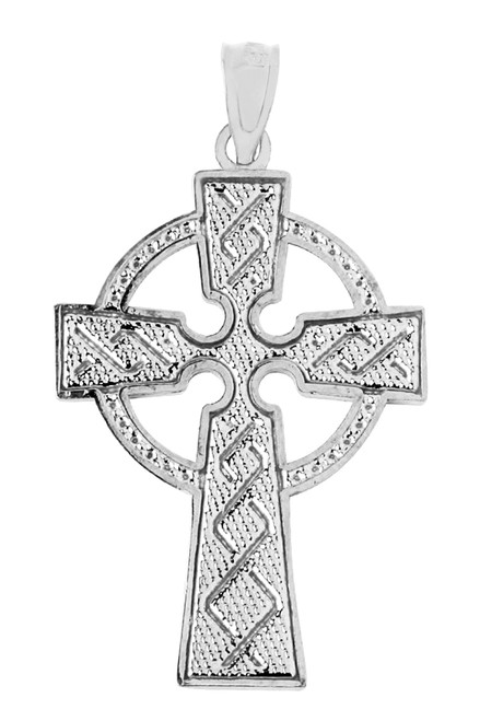 Celtic Cross White Gold Pendant