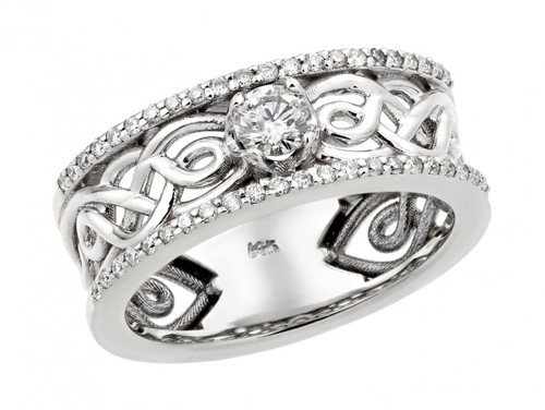 White Gold Celtic Knot Diamond Wedding Engagement Ring