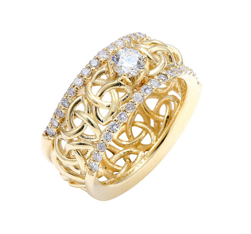 Gold Celtic Trinity Love Knot Diamond Wedding Ring