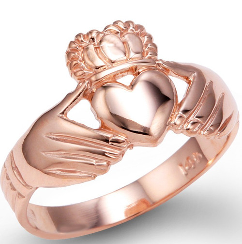 Rose Gold Irish Claddagh Ladies Ring