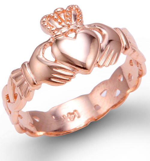 Ladies Rose Gold Claddagh Ring with Trinity Band