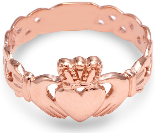 Rose Gold Claddagh Men's Ring with Trinity Band