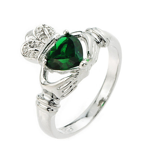 Sterling Silver Emerald CZ Claddagh Ladies Ring
