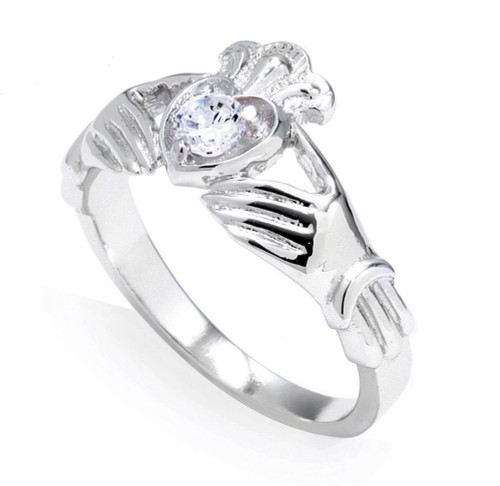 White Gold 0.22 Carats Diamond Claddagh Engagement Ring