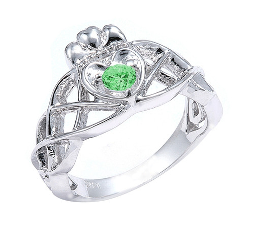 White Gold Claddagh Knot Engagement Ring
