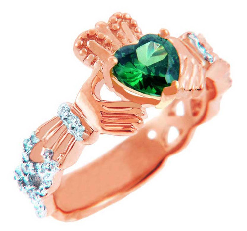 Rose Gold 0.4 Ct Diamond Band Claddagh Ring With and 1.10 Ct Genuine Emerald