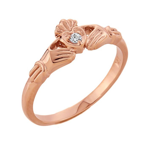 Rose Gold Diamond Claddagh Promise Ring