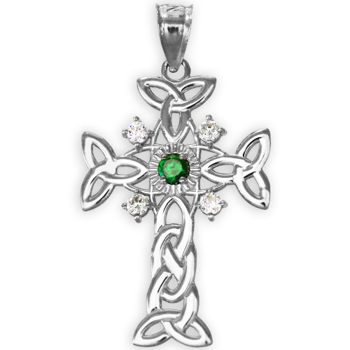 White Gold Celtic Knot Trinity Cross Diamond Pendant with Genuine Emerald