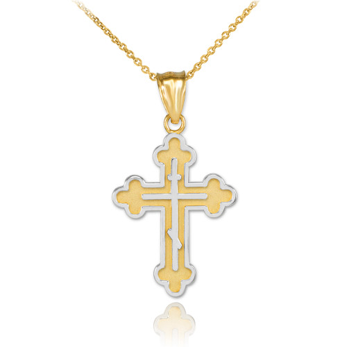 Two-Tone Gold Eastern Orthodox Cross Charm Pendant Necklace