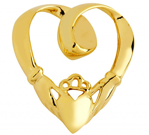 Solid Gold Claddagh Slide Pendant at CladdaghGold.com - image