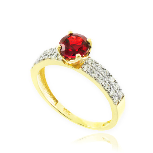 Genuine Ruby Gold Diamond Pave Engagement Ring
