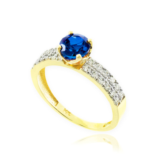 Blue Sapphire Gold Diamond Pave Engagement Ring