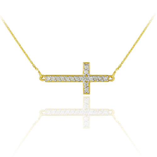 14K Gold Sideways Cross Cute CZ Necklace