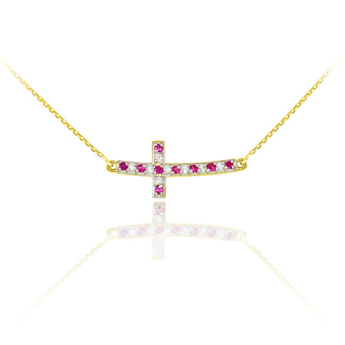 14K Gold Cute Sideways Curved Cross Red and Clear CZ Necklace