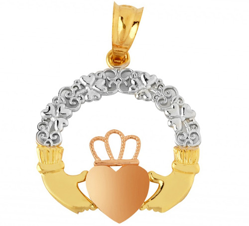 Gold Claddagh Pendant with Shamrocks and Rose Gold Heart from CladdaghGold.com